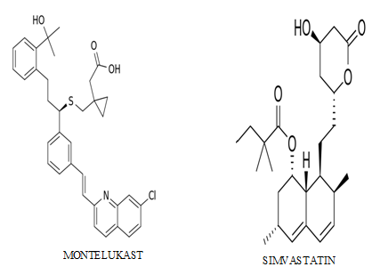 Structures of drugs Montelukast and simvastatin (images are derived from http://en.wikipedia.org)