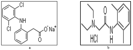 Chemical structures of (a) Diclofenac Na, (b) Lidocaine HCl