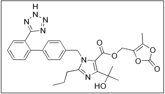 Chemical structure of Olmesartan Medoxomil.